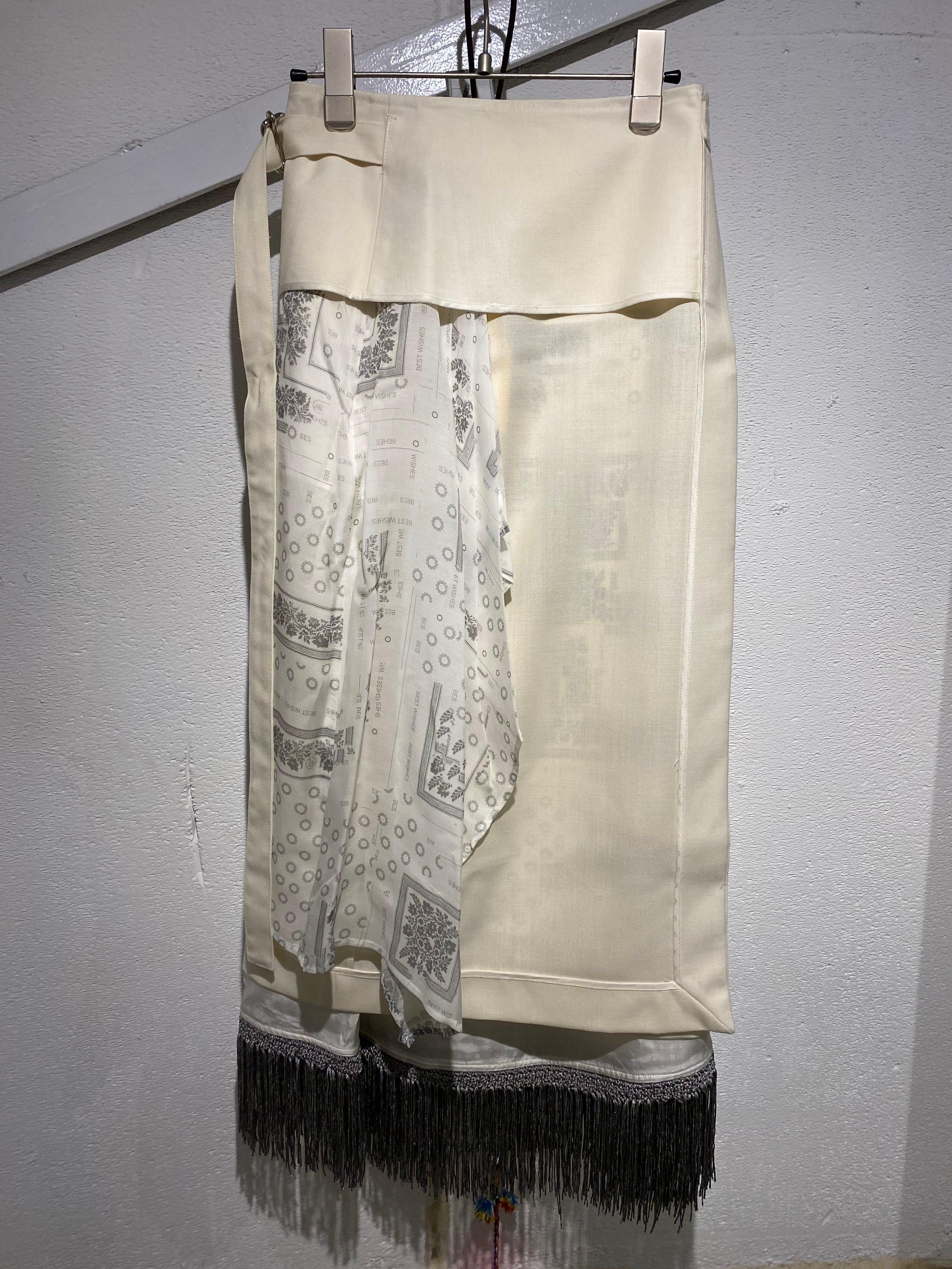 PONTI  wool layered reversible 2p skirt
