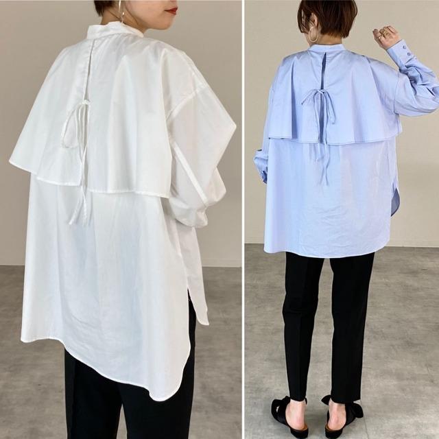 ◆即納ベージュ/ホワイトラスト1個のみ◆フライヨーク ケープシャツ ブラウス OP-t97