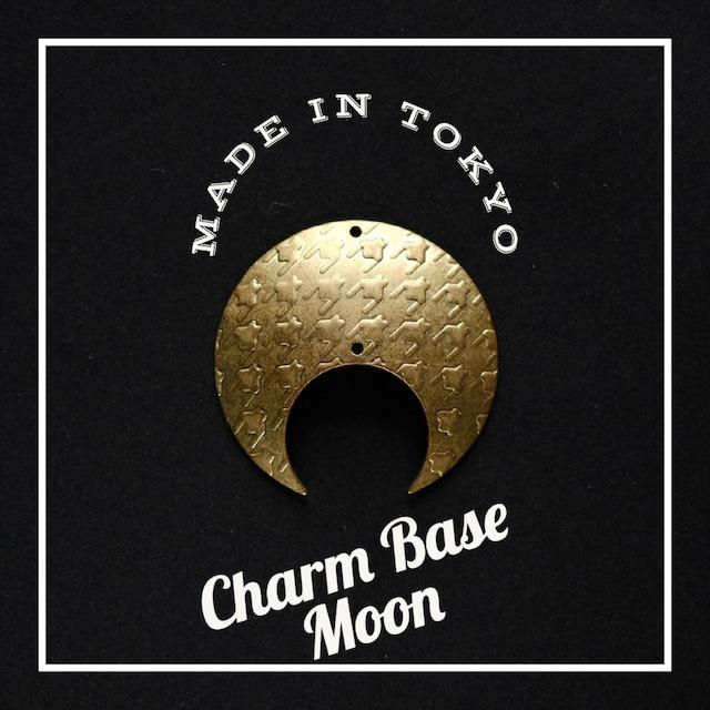 【1個】チャーム・ベース 三日月A(2穴)千鳥模様(日本製、真鍮、無垢)