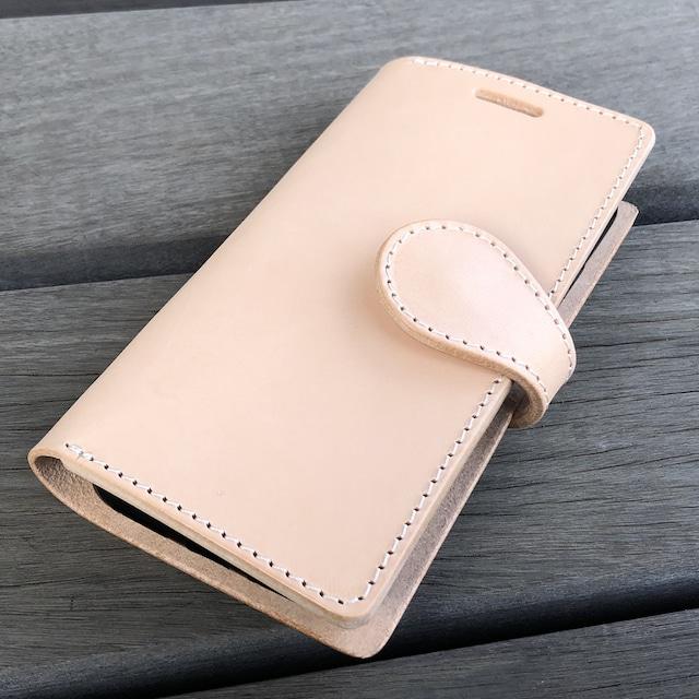 【即納品】iPhoneX/XS兼用 手帳型ケース トスカーナ地方でなめされたイタリアンレザー 生成りヌメ革 ナチュラル SALE3