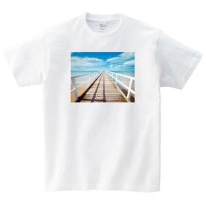 桟橋 Tシャツ メンズ レディース 半袖 海 シンプル ゆったり おしゃれ トップス 白 30代 40代 ペアルック プレゼント 大きいサイズ 綿100% 160 S M L XL
