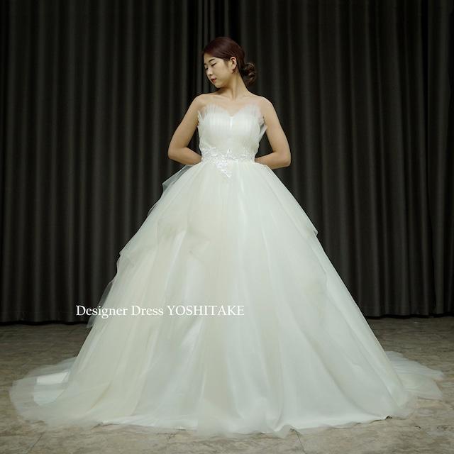 【オーダー制作】ウエディングドレス(無料パニエ) ぎざぎざハートシェイプ&ふんわりスカートのチュールウエディングドレス(パニエ付)※制作期間3週間から6週間