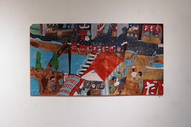 ベニヤ絵 タブロー『駄菓子屋と橋がある町』