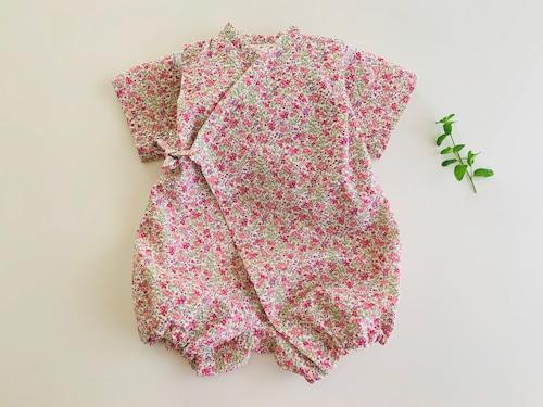ベビーロンパース甚平ピンク花柄80cm