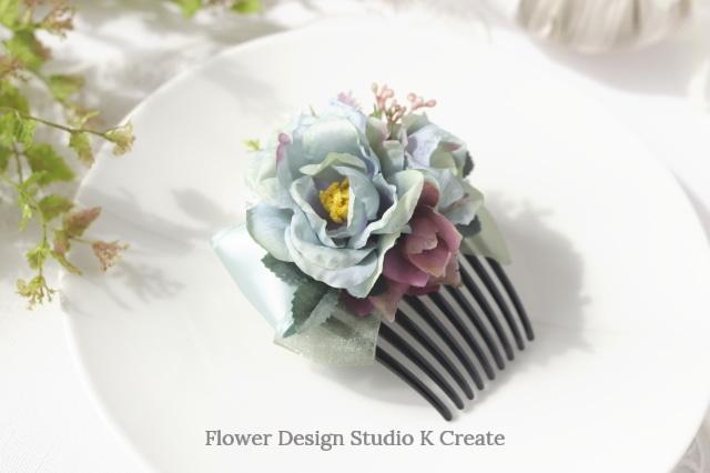ミントグリンの薔薇とリボンのコーム フラメンコ ペイネタ お花のコーム バラ 髪飾り 卒業袴 ダンス髪飾り