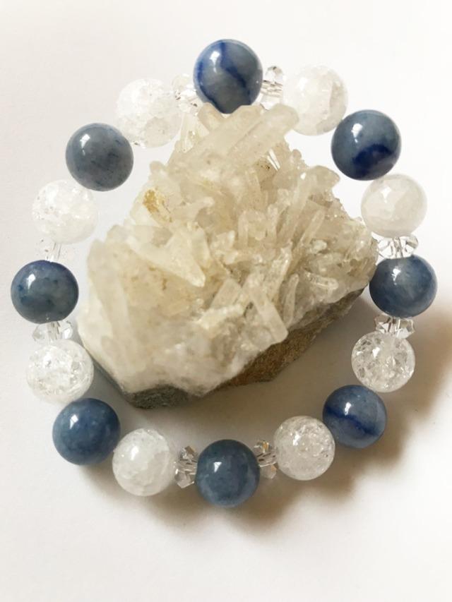 ★10mm玉★ブルーアベンチュリン・クラック水晶【健康】【癒し】