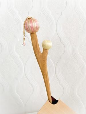 枝に実りのかんざし(二つ実り) -ピンク-