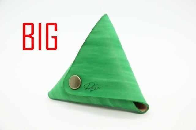 美しい三角コインケース(ツリーグリーン) 大サイズ