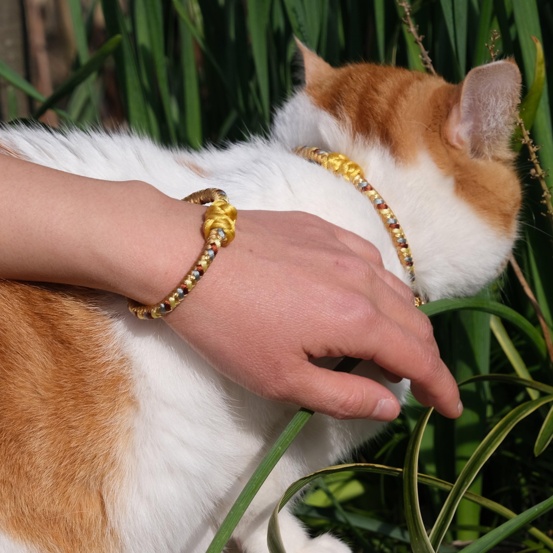 【ペア】Cinnamon 組紐ブレスレット&猫首輪 ペアセット