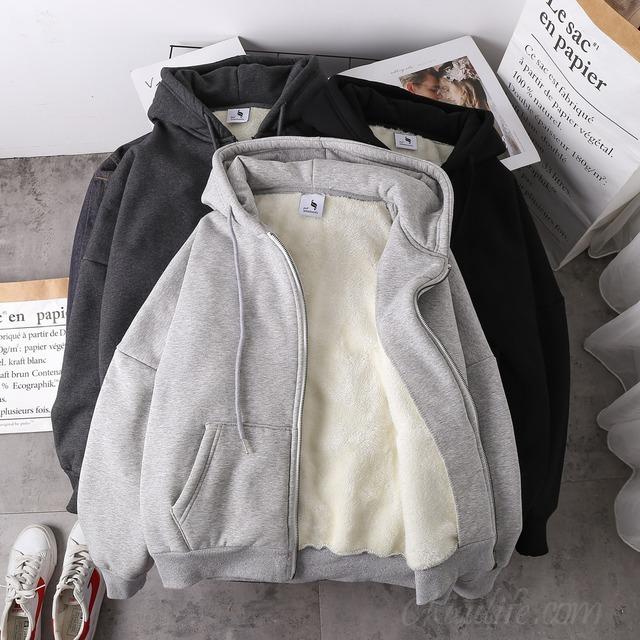 【アウター】シンプルフード付き長袖切り替えジッパーダウンコート35365259