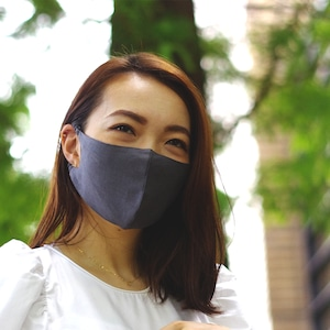 2層リネンシルクマスク ギャザータイプ /カラー:チャコール【bionatural】