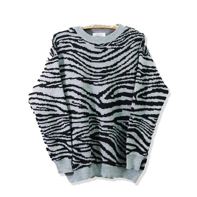 オーバーサイズマルチニット アニマル柄 オーバーサイズ ゼブラ セーター