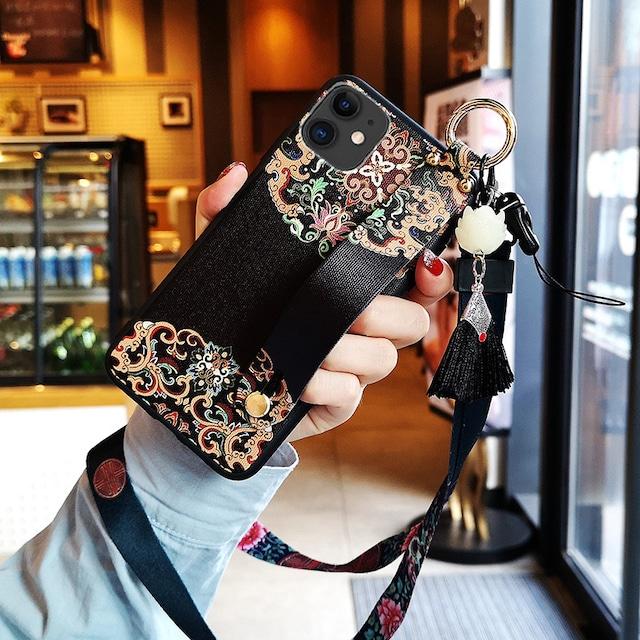 【YOUPINシリーズ】★チャイナ風携帯ケース★2color選択可能 iPhone 11 11Pro 11ProMax XR X/XS XS Max 7/8 plus レッド ブラック