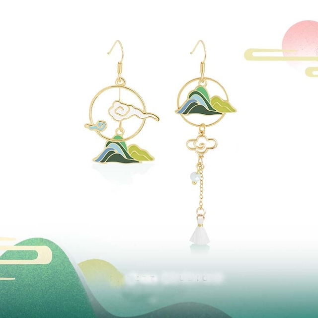ピアス 耳飾り チャイナ風アクセサリー オリジナル 素朴 パーティー プレゼント 雲と山 不規則