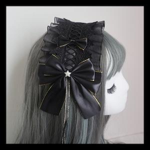 【即納】ロリィタ ブラック ヘッドドレス 5種(スターレース)