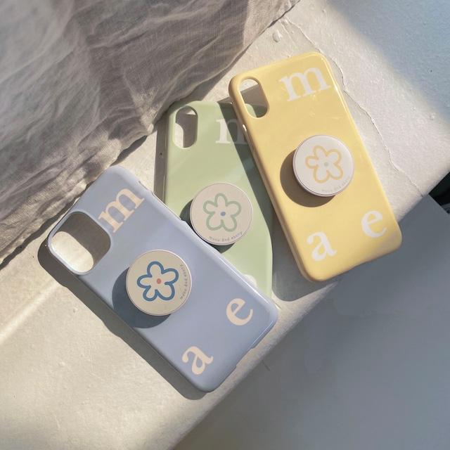 [mucu&ebony] ロゴ ソフト iPhoneケース& flower スマホグリップ セット (Airy Blue)