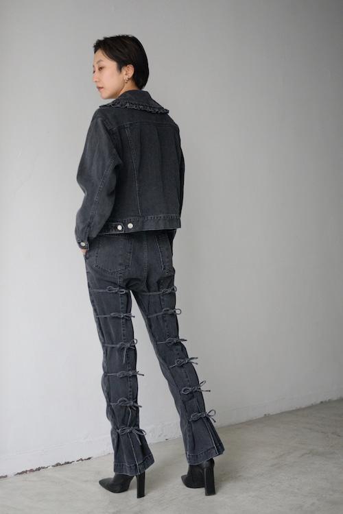 BELPER / STRINGS DENIM PANTS (black)