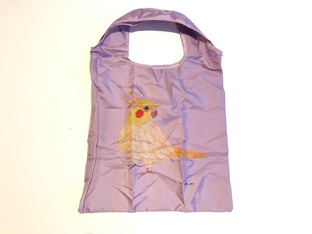 Matsuo Miyuiki 【松尾ミユキ】 Okameinkio Eco Bag エコバッグ 小鳥 オカメインコ purple