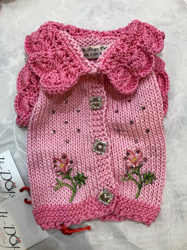It Dogs 2019 Summer #45 Hand knit summer sweater with swarovski,swarovski buttons