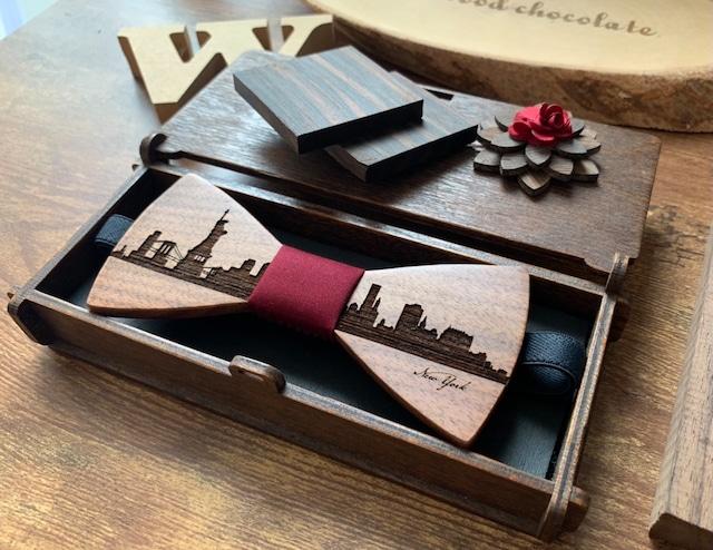 「NYの街並み」木製 蝶ネクタイ #CityContrast NY - メイン画像