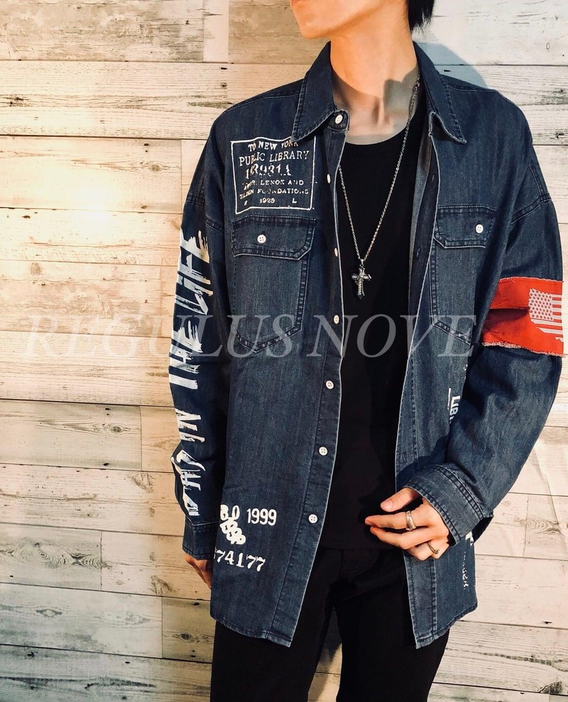 ユニセックス デザインBIGシルエットデニムシャツ BLUE レディース メンズ  オーバーサイズ 大きいサイズ 派手 個性的 ストリート ロック