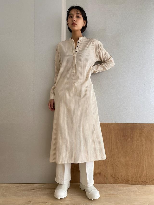 "Long Sleeve Shirt Dress ""beige stripe"""