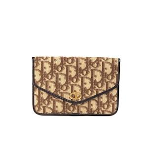Christian Dior クリスチャン ディオール トロッター CD金具 ポーチ クラッチバッグ ブラウン vintage ヴィンテージ オールド  s3kci6