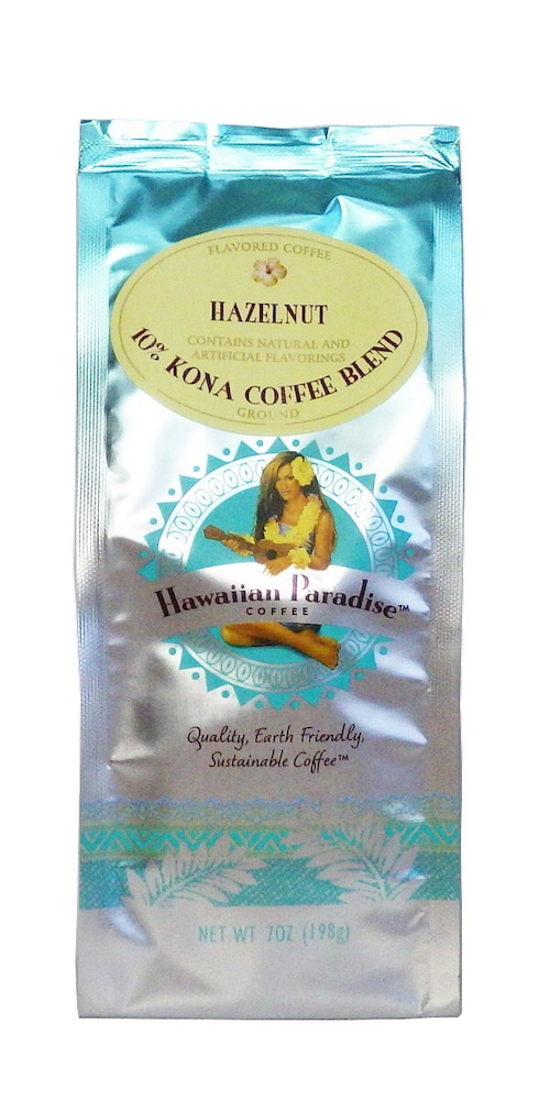 ヘーゼルナッツ(挽き済みの粉) ハワイアンパラダイス(7oz 198g) ハワイコナコーヒー フレーバーコーヒー
