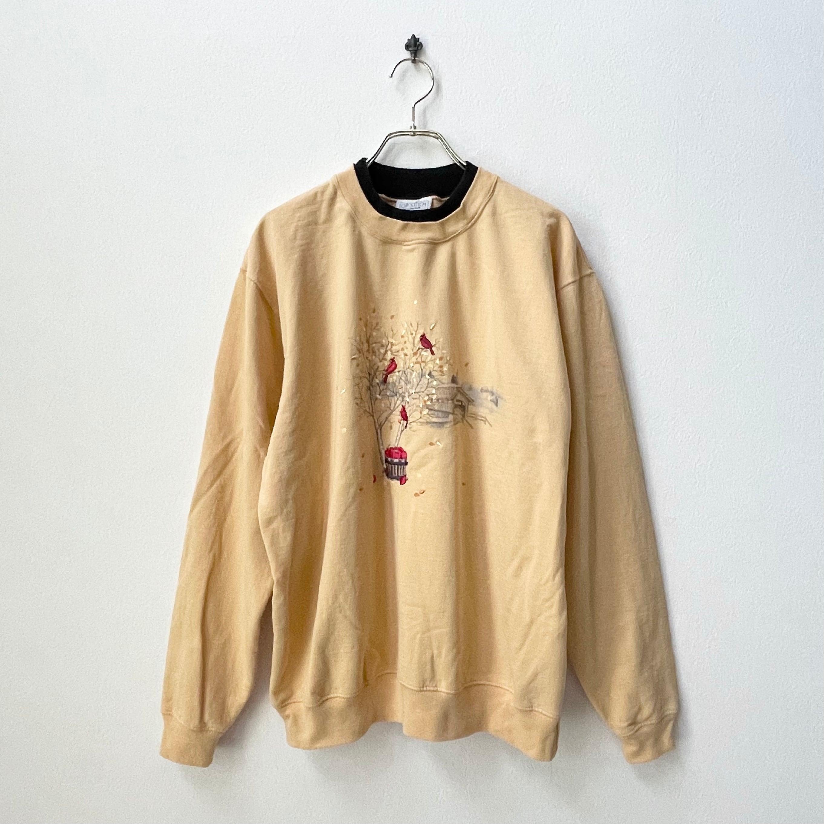 90年代 バード 刺繍 ハイネック スウェット アメリカ 古着 日本L