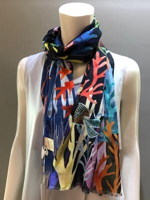 LARIOSETA(ラリオセタ)OK701/10710 Col.001 イタリア製 コットン100 プリントスカーフ