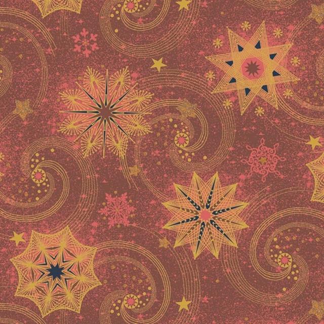 2021秋冬【Daisy】バラ売り2枚 ランチサイズ ペーパーナプキン Gold and Red Stars and Twirls レッド