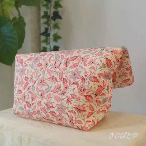 和裁士さんが考えたバッグインバッグ フラミンゴ色の更紗/ブルーグレーのぼかし