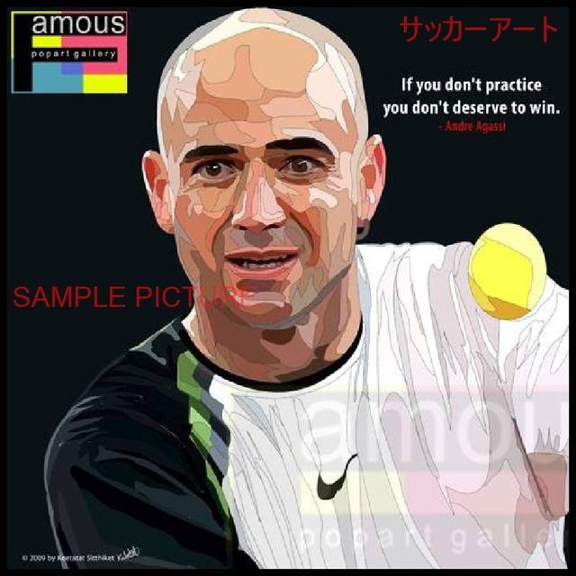 【51*51cm 特大サイズ】 スポーツグラフィックアートパネル アンドレ・アガシ テニスプレイヤー 木製 壁掛け ポスター (004-007)