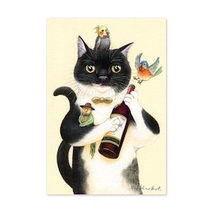27.ねことワインと仲間たち ポストカード / Cat, Wine and Friends Postcard