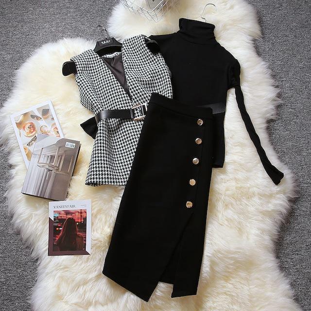 セットアップ ベスト+スカート+セーター 3点セット ツイード 千鳥格子柄 OL/フォーマル 長袖 M L XL 2XL