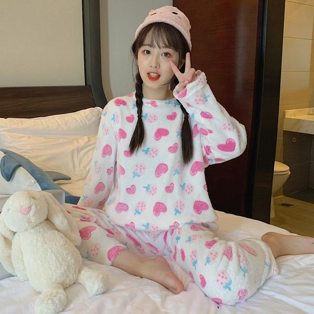 【ルームウェア・パジャマ】スウィートプリントキュート韓国系簡約パジャマセットアップ27547486