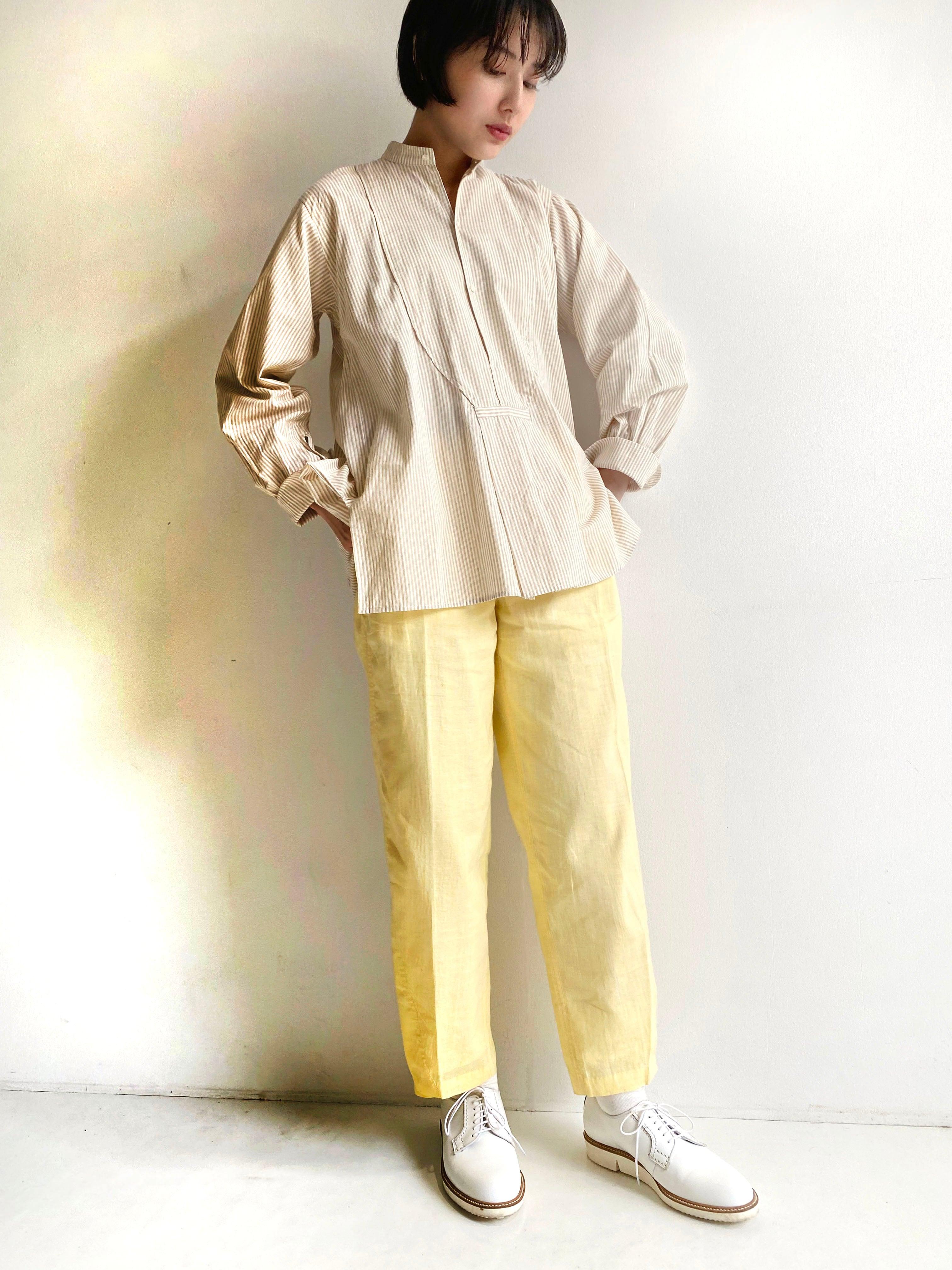 "Pullover gather blouse ""beige stripe"""