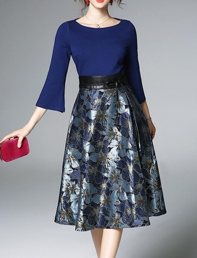 ジャカード織りスカートドレス