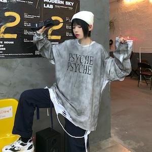 【トップス】レトロ長袖アルファベットプリントダメージ加工ラウンドネックTシャツ42896035