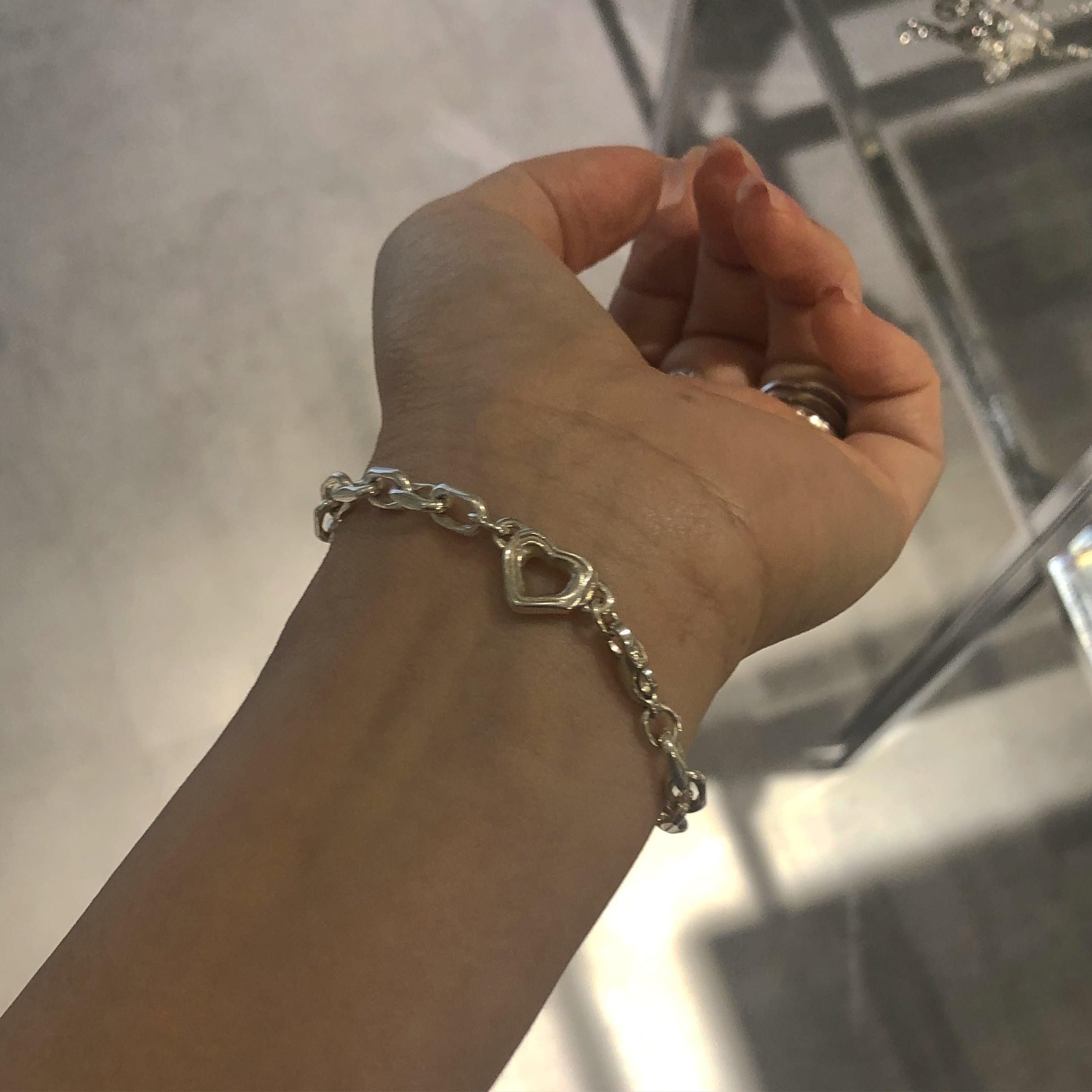 bone HEART chain bracelet silver925 #LJ20016B