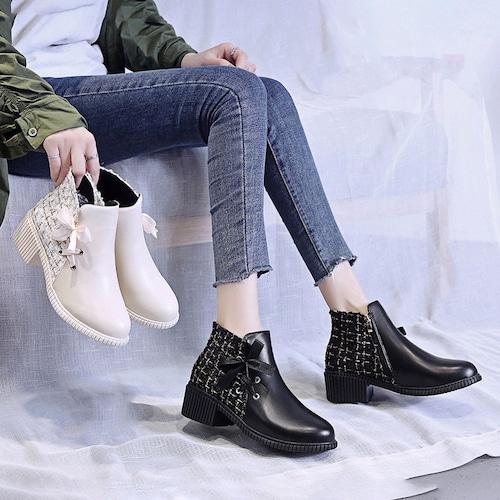 異素材切り替え ショートブーツ サイドジッパー 5cm ヒール 太ヒール 韓国ファッション レディース 歩きやすい 履きやすい かわいい おしゃれ 大人可愛い 629186523306