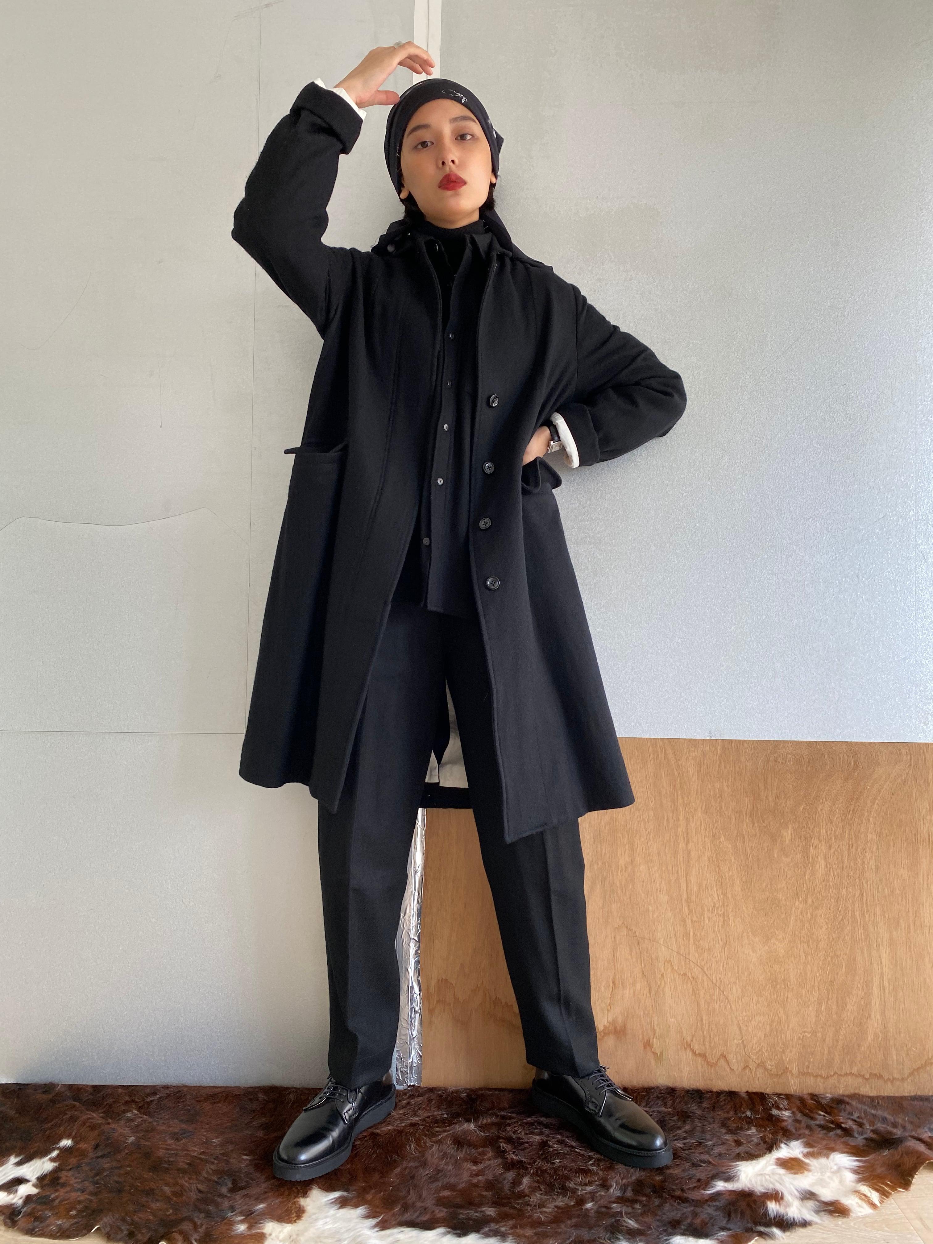 "Two style sleeve coat ""black"" khadi wool"