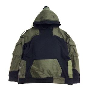 Remake Hoodie black×Military【hoodie06】