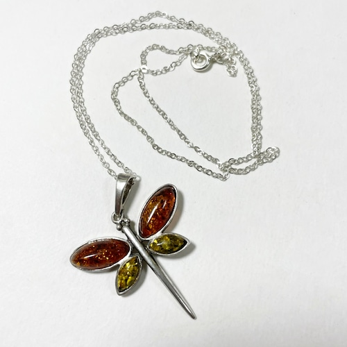 Vintage Baltic Amber & 925 Silver Dragonfly Pendant Necklace