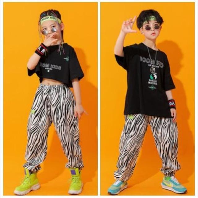 110~180cm ★ セットアイテム 男の子 女の子 ダンス衣装 ゼブラ柄