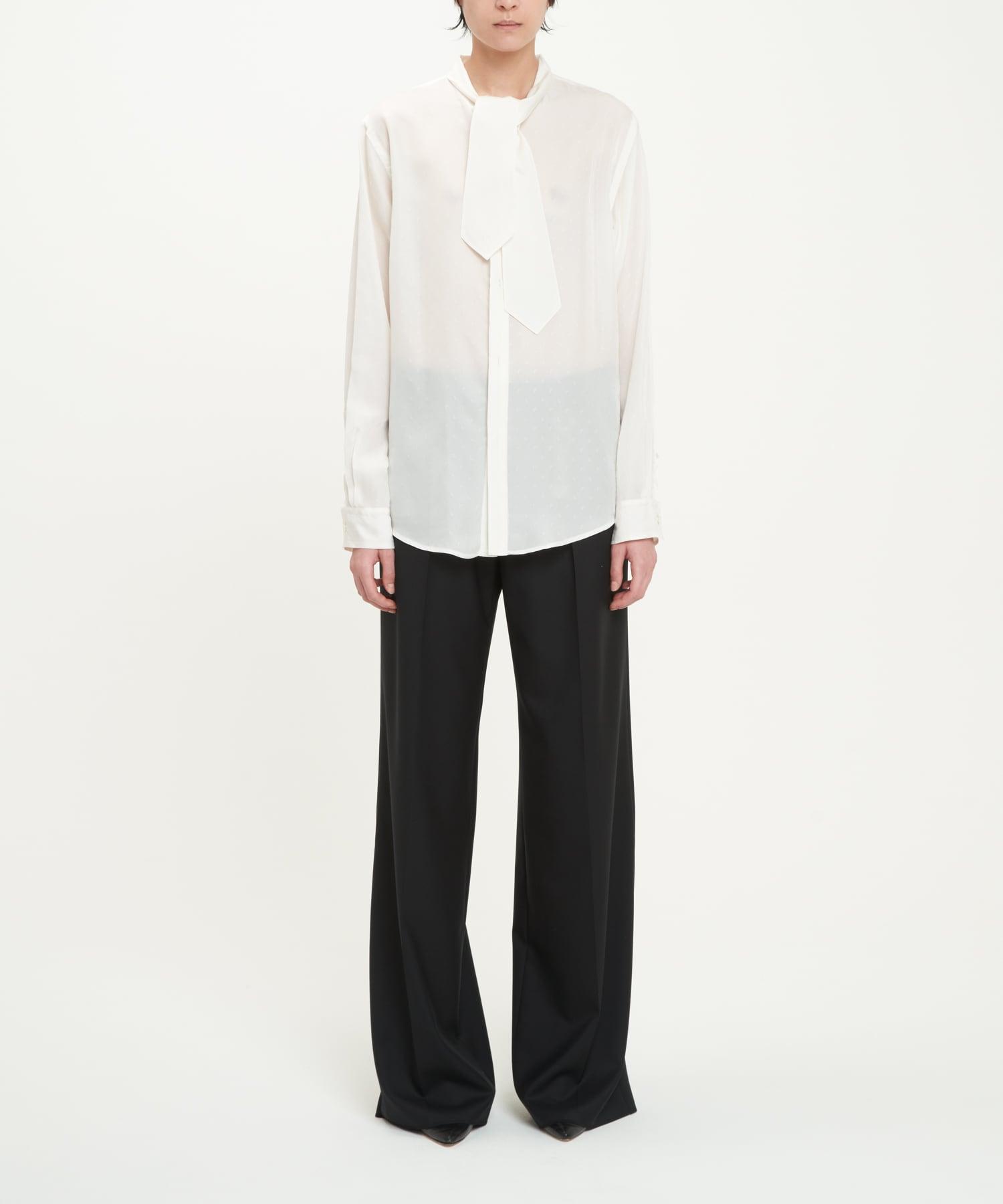 White Cupro Paisley Lavalliere-Neck Shirt