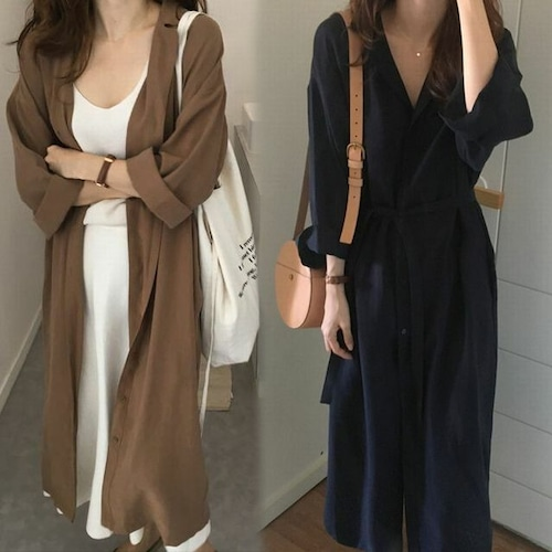 2WAY シャツワンピース コート 韓国ファッション レディース ロングシャツ 薄手 ラグランスリーブ 無地 DCT-572739058895