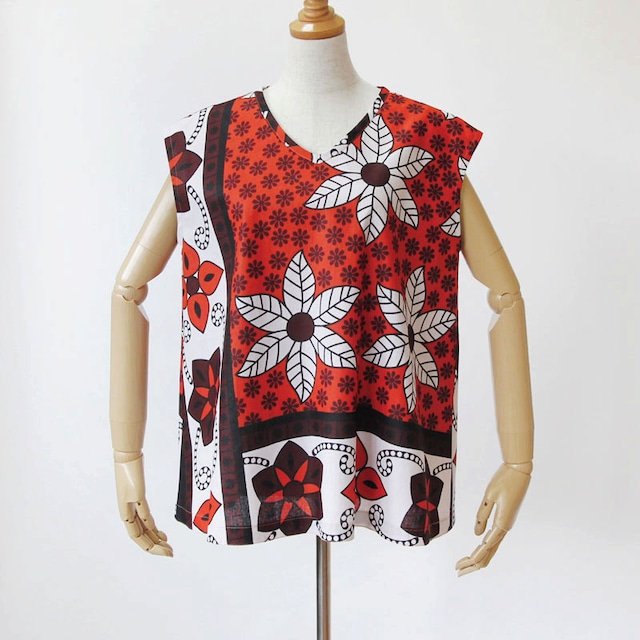 カンガのノースリーブ・ブラウス|アフリカ布 服 / カンガ服