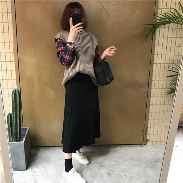 【スカート】韓国 韓国ファッション スカート フレア フレアスカート ニットスカート プリーツ Aライン スカート プリーツスカート ウエストゴム ボトムス 冬 オフィス レディース ファッション