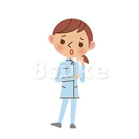 イラスト素材:困った表情でほおづえをつく介護士の女性(ベクター・JPG)